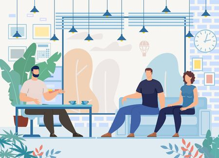 Family Relationships Problems Therapy Trendy Flat Vector Concept. Male Psychologist Consulting Couple, Wife and Husband Visiting Psychological Counseling, Therapist Talking with Patients Illustration