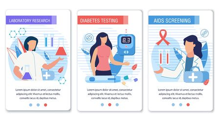 Social Media Landing Page Set for Diabetes Control. Laboratory Research, Testing and Aids Screening. Cartoon Doctors and Patients Characters. Medical Equipment for Healthcare. Vector Flat Illustration
