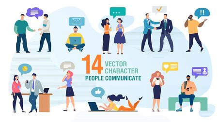 Communicating Personally and Using Gadgets People Trendy Flat Vector Characters Set. Man and Woman Talking Face to Face, Calling Friends, Messaging Online with Cellphone and Computer Illustration