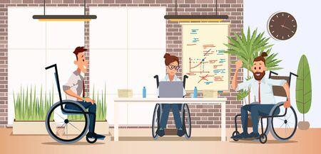 Persone disabili Lavoro di squadra e cooperazione nel lavoro Concetto di vettore piatto alla moda con uomini e donne, donne, dipendenti maschi in sedia a rotelle che lavorano insieme in ufficio, illustrazione del progetto di pianificazione Vettoriali