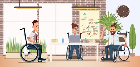Disabled People Teamwork and Cooperation in Work Trendy Flat Vector Concept with Men and Woman, Female, Male Employees in Wheelchairs Working Together in Office, Planning Project Illustration