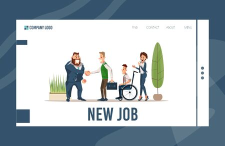 Job Search and Personnel Recruitment Online Service, Human Resources Agency Trendy Flat Vector Web Banner, Landing Page. Satisfied Company Leader Handshaking and Welcoming New Employees Illustration Vector Illustratie