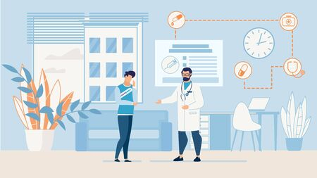 Cartoon Doctor in Uniform and Man Patient Suffering from Pain Talking in Hospital Office. Professional Consultation. Headache, Examination and Treatment Prescription. Vector Trendy Flat Illustration Ilustrace