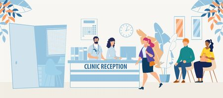 Clinic Reception Room with Doctor Medical Staff and Patients Cartoon. Hospital Hallway Interior. Medicine and Healthcare. Consultation and Medical Diagnosis during Sickness. Vector Flat Illustration