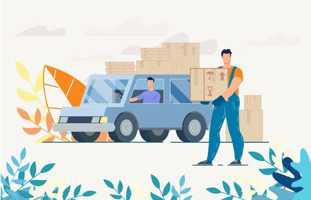 Deliveryman and Man Driver on Truck with Parcels in Boxes. House Moving, Goods, Electronics Transportation. Fast Service for Shipping Parcels. Postal Support. Logistics and Home Office Delivery