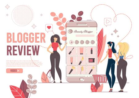 Webpage Presents Fashion Blogger Review.  Young Woman Showing New Cosmetics Products and Trends in Makeup on Mobile to Followers. Online Beauty Content for Social Media Network Creation Illustration