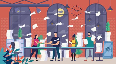 A Lot of Office Paperwork, Bureaucracy Flat Vector Concept with Company Employees Sorting, Analyzing and Organizing Paper Documents, Reading Correspondence, Trying to Finish Work at Time Illustration