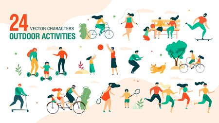 Family Outdoor Activities, Summer Leisure Entertainment Trendy Vector Set Isolated on White Background. Parents with Children Playing in Park, Riding Bicycle, Playing in Park Characters Illustration Иллюстрация