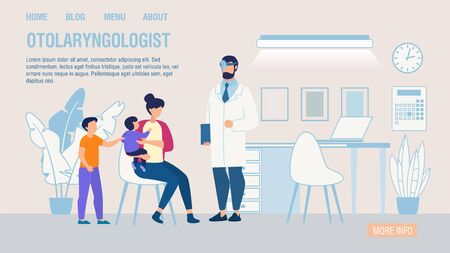 Otolaryngologist Online Service Trendy Flat Landing Page. Cartoon Mother with Children at ENT Doctor Appointment. Kids Medical Examination and Treatment Ear, Nose, Throat. Vector Illustration Vector Illustration