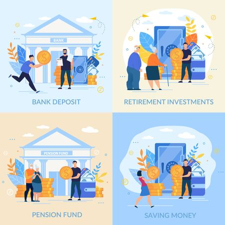 Set Informative Flyer Inscription Saving Money. Banner is Written Bank Deposit, Retirement Investments, Pension Fund. Profitable Investment. Young and Old People Carry their Gold Coins to Bank. 向量圖像