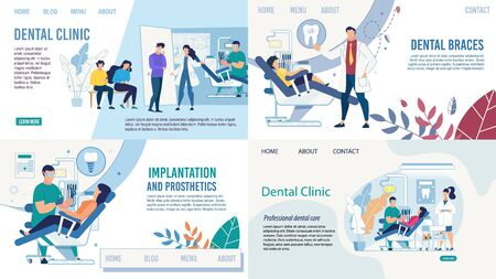 Stomatology and Dentistry. Tooth Healthcare Services Flat Landing Page Set. Setting Braces, Prosthetics, implantation. Diagnosis and Treatment. Dentist and Patients. Vector Cartoon Illustration