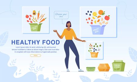 Webpage Banner Promotion Healthy Food and Dietary Nutrition. Woman Character Advertising Fruits and Vegetables for Collecting Organic Dinner Box. Online Service for Meal Order and Delivery 向量圖像