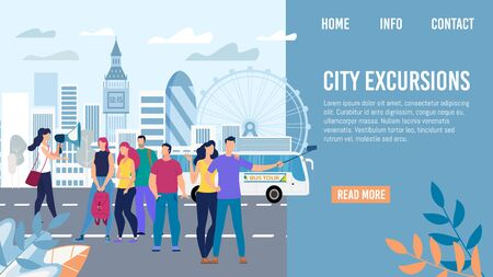 City Excursions, Bus Tour in Europe Travel Trendy Flat Vector Web Banner, Landing Page Template. Tourists Group Listening Tour Guide, Happy Couple Shooting Selfie Photo on Mobile Phone Illustration Vector Illustration