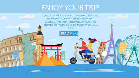 Travel Agency Romantic Trips in Foreign Country Trendy Flat Vector Web Banner, Landing Page Template. Couple on Scooter Visiting Europe, Asia, USA, Exploring World Famous Attractions Illustration