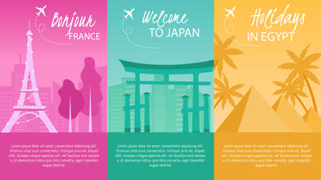 Touristic Travel, Airline Flight to Famous Foreign Cities, Vacation Trip Trendy Flat Vector Vertical Advertising Banners, Promo Posters Templates Set. France, Japan and Egypt Attractions Illustration