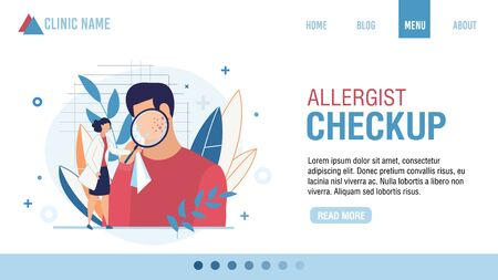 Landing Page Allergist Checkup Fixing Appointment. Cartoon Doctor Examining Male Patient Face Skin with Rash under Loupe. Online Service for Doctor Consolation. Vector Carton Illustration 일러스트