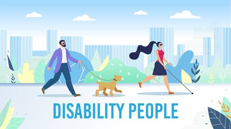 Disabled People Daily Life Activities Trendy Flat Vector Banner, Poster Template. Blind Woman and Man in Black Glasses Walking in City Park, Finding Way with Cane and Trained Guide Dog Illustration