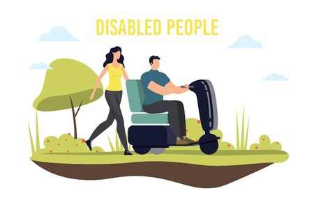 Disabled People Mobility and Transportation Trendy Flat Vector Banner, Poster Template. Paralyzed Man with Paraplegia, Handicapped Person with Disabilities Riding Electrical Scooter Illustration Illustration