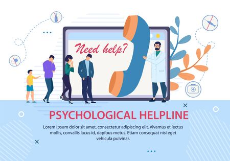 Psychological Helpline Promotion. Advertising Text Banner. Doctor with Huge Handset and Patients Queue. Psychologist Counseling, Support and Help Online. Psychotherapy. Vector Cartoon Illustration