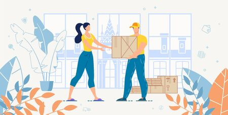 Cargo Transportation Home Express Delivery and Logistic Fast and Reliable Service Advert. Woman Customer Receiving Ordered Goods in Cardboard Packages from Deliveryman. House Moving. Freight Shipment