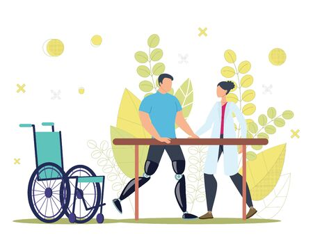 Disabled People Physical and Functional Rehabilitation, Recovery After Injury Trendy Flat Vector Concept. Injured Man with Leg Amputations Training, Learning to Walk with Prosthesis Illustration Ilustrace