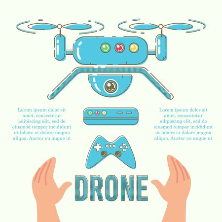 Drone for Entertainment and Aerial Photography or Video Flat Vector Advertising Banner, Promo Poster Template. Modern Quadrocopter with Action Camera, Drone Flight Controller or Gamepad Illustration  イラスト・ベクター素材