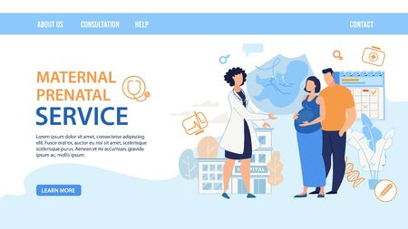 Flat Landing Page Layout Design. Maternal Prenatal Service. Cartoon Female Doctor Consulting Pregnant Woman Wife with Man Husband. Young Family Waiting Childbirth on Consultation. Vector Illustration