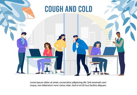 Cough and Cold Epidemic in Office Warning Banner. Cartoon Man and Woman Workers Feeling Unwell Having Infection, Flu Symptoms. Health Protection with Pills and Vaccination. Vector Medical Illustration