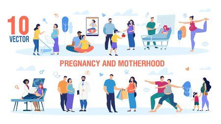 Pregnancy and Motherhood Trendy Flat Vector Characters Set. Active Pregnant Women Walking with Child, Visiting Doctor, Meeting Friend, Shopping and Doing Exercises with Husband Illustration Collection Ilustração