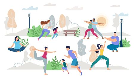Healthy Lifestyle People Characters Vector Scene Flat Set. Man Woman, Children, Young Family, Pregnant Wife Husband, Lady Waiting for Childbirth Doing Yoga, Jogging, Training on Fresh Air Illustration Ilustrace