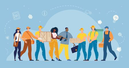 Man and Woman Working at Delivery Service, Hotline Operator and Customers Internet Users. Post Office Staff with Packaged Parcels and Mail Letters Bundle. Profession, Occupation. People Characters Set Illustration