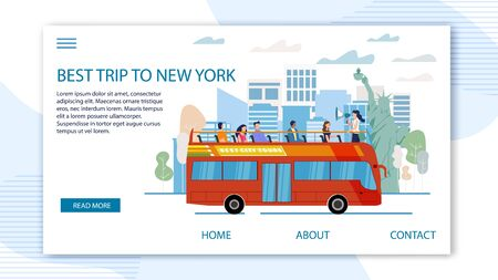 Touristic Tour to United States Trendy Flat Vector Web Banner, Landing Page Template. Tourists Group Visiting New York, Exploring Famous Attractions from Double-Decker, Open Top Bus Illustration