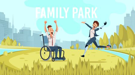 Modern City, Metropolis Family Park Trendy Flat Vector Banner, Poster Template. Happy Smiling, Excited Disabled Man in Wheelchair, Woman with Robotic Prosthesis Resting on Park Meadow Illustration