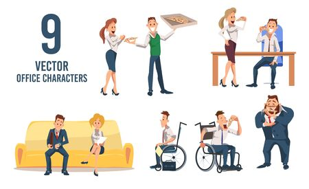 Female, Male Office Workers Trendy Flat Vector Characters Set Isolated on White Background. Men and Women Eating Pizza, Disabled Man in Wheelchair, Job Applicants Waiting for Interview Illustration Reklamní fotografie - 137862521