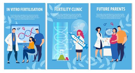 Advertising Informational Banners Set for Fertility Clinic. In Vitro Fertilization Promoting to Become Parents in Future. Doctors in Uniform and Couple at Consultation Cartoon. Vector IVF Illustration