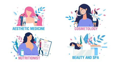 Women Health Care and Treatment People Scene Set. Cartoon Ladies and Doctors Cosmetologist, Nutritionist Consultation. Face Sking Beauty. Body Care and Relax. Aesthetic Medicine. Vector Illustration