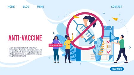 Anti-Vaccine and Mandatory Immunization Protest Refusal Design Flat Landing Page. Cartoon People Characters Rejecting Preventive Medicine. Anti Vaccination Movement. Vector Illustration