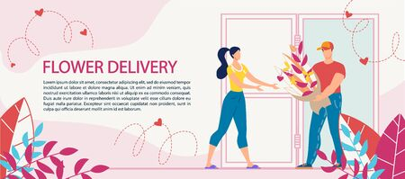 Flower Bouquet Delivery Service Advertisement. Woman Receiving Blooming Plants in Wrapping from Man Courier Worker. Congratulation with International Women Day, Birthday, Anniversary. Ecommerce