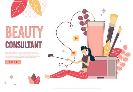 Beauty Blogger Consultant Landing Page Production. Young Woman Shooting Recording Sharing Cosmetics and Skincare Products Review on Mobile Phone. Social Media Network and Blogging. Followers Increase Çizim