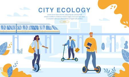 City People Riding Eco Friendly Personal Transport. Webpage Banner Design. Men and Women Driving Electric Scooter, Hoverboard, Monocycle. Modern Ecological Train on Magnetic Pad. Quick Ecological Ride  イラスト・ベクター素材