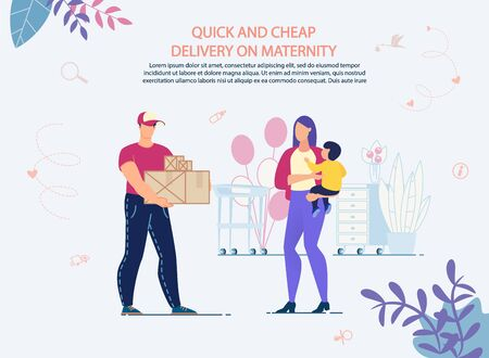 Quick Shopping and Cheap Delivery on Maternity. Online Service Advertisement. Buying Baby Goods and Preparing for Childbirth. Receiving Order in Time. Shipping Company. Mother with Newborn and Courier
