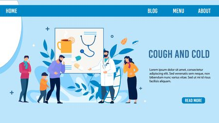 Cartoon Sick People Characters Need Doctor Advise. Service for Calling Therapist. Man, Father with Son Coughing Get Cold. Trendy Flat Landing Page Design. Vector Telemedicine Illustration