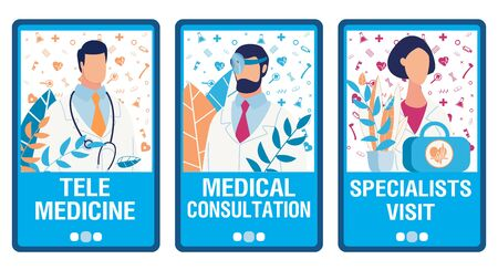 Virtual Doctor Help Onboarding Mobile App Page Flat Screens Set. Telemedicine Services. Online Consultation and Specialist Visit Order. Social Media Landing Page. Vector Doctors Illustration Фото со стока - 138267413