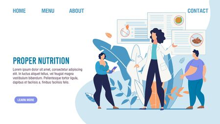 Proper Nutrition Selection. Cartoon Fat People and Nutritionist Dieting Expert. Personal Balanced Food Menu for Weight Lost. Flat Landing Page. Obesity and Healthcare. Vector Illustration