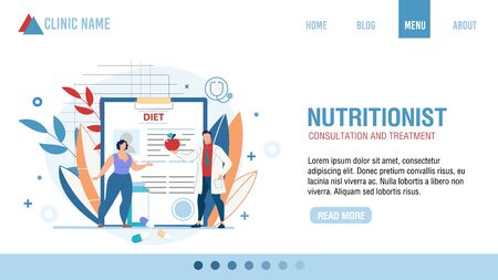 Nutritionist Consultation and Treatment. Online Clinic Service. Cartoon Doctor Selecting Diet Menu for Losing Weight. Overweight Female Patient at Appointment. Flat Landing Page. Vector Illustration