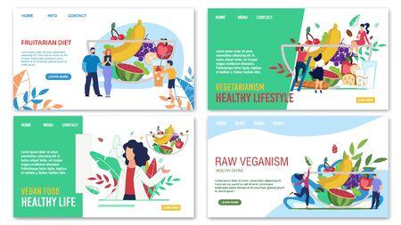 Healthy Eating, Fruitarian Diet, Vegetarianism, Raw Veganism, Vegans Food Advertising Trendy Flat Landing Page. Online Service for Consultation and Menu Selection. Vector Cartoon Illustration