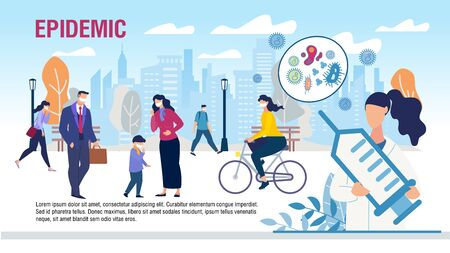 Protecting People from Epidemic Flat Promo Banner. Virus Attacks. Cartoon Man, Children in Protective Facial Masks to Avoiding Infection. City Street. Doctor with Syringe. Vector Illustration