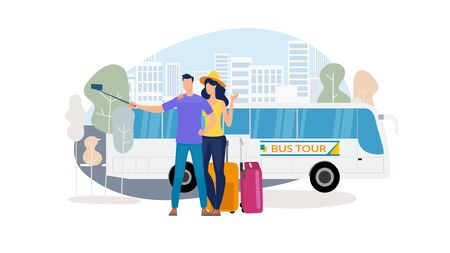 Traveling on Bus, City Excursion Tours Trendy Flat Vector Concept. Happy Couple Shooting Selfie Photo with Cellphone, Wife and Husband with Luggage Going at Romantic Journey on Coach Bus Illustration Banco de Imagens - 138287874