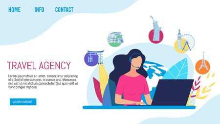 Travel Agency Clients Support, Call-Center or Helpline Service Trendy Flat Vector Web Banner, Landing Page Template. Company Manager, Helpdesk Worker in Headset Communicating with Clients Illustration