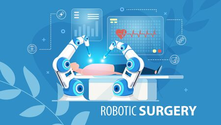 Innovative Medicine of Future. Robotic Surgery. Automated Arm Assembly at Work. Patient Laying on Operation Table. Hi-Tech Surgical Instruments. Medical Flat Poster. Vector Cartoon Illustration